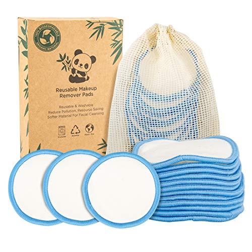 Qoosea Discos Desmaquillantes Reutilizables Algodones Reutilizable de Carbón de Bambú y Fibra de Bambú,Almohadillas Desmaquillantes Lavable,12 Piezas con Bolsa de Lavado