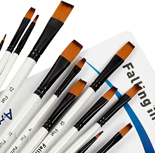 Falling in Art Paint Brushes Set 12 PCS Nylon Professional Flat Paint Brushes for Watercolor product image