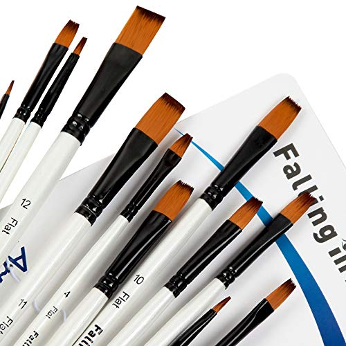 Falling in Art Paint Brushes Set, 12 PCS Nylon Professional Flat Paint Brushes for Watercolor, Oil Painting, Acrylic, Face Body Nail Art, Crafts, Rock Painting
