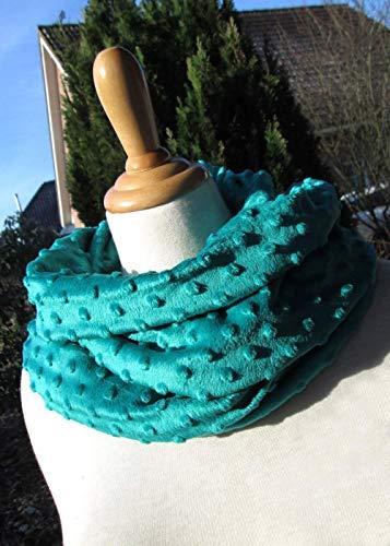 PÜNKTCHEN leichter kuscheliger Schal mit Punkten Loop smaragdgrün dunkelgrün petrolgrün petrol