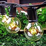 50Ft String Lights G40 String Lights with 52 Clear Bulbs UL Listed for Patio Garden Wedding Backyard Deck Pergolas Gazebos Blacony String Lights Indoor Outdoor Commercial Use-Black Wire
