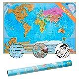 Golden Castle NEU Weltkarte zum Rubbeln auf mattem