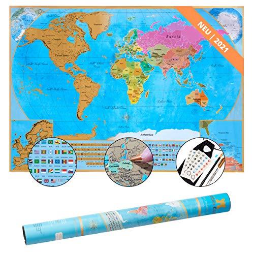 Golden Castle NEU Weltkarte zum Rubbeln auf mattem Fotopapier - 65x45cm Landkarte zum Rubbeln mit umfangreichen Set - Scratch Map inkl. Befestigungsmaterial - World Map für Erwachsene und Kinder