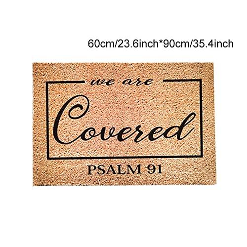 Felpudo religioso Psalm 91, cojín de bienvenida cristiano con apertura de la casa, regalo de bienvenida de la casa, decoración para interior y exterior