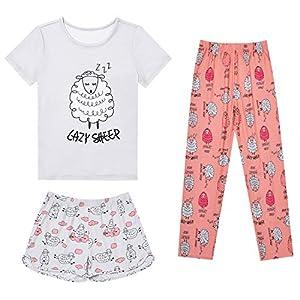 Mirawise Girls 3 Pieces Pajamas Sleepwear Cotton Pjs Shirts Pants Set 4-13 Years