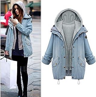Funien Fashion Women Two Piece Set Denim Jacket Hooded Vest Oversized Casual Coat Outerwear Light Blue