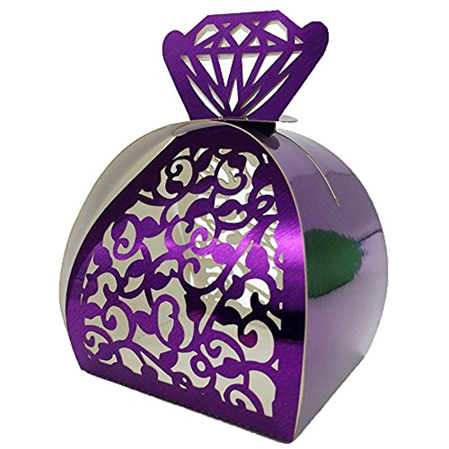 WOMHOPE? 50 Pcs - Jewelry Lock Vine Hollow Laser Cut Roses Flowers Wedding Candy Box Chocolate Candy Wrappers Party Favors for Bridal Shower,Wedding,Party,Birthday Gift (Purple (Reflect light))