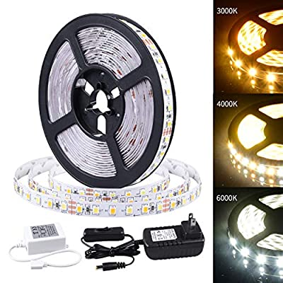 LED Strip Lights 16.4ft Daylight/Warm White Tape Lights 12V Mirror Light Kit 600 LEDs SMD 2835 UL Listed Plug Adapter Indoor Rope Lighting for Bedroom Cabinet Kitchen