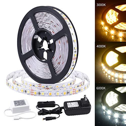 ollrieu LED Strip Lights 16.4ft Daylight/Warm White Tape Lights 12V Mirror Light Kit 600 LEDs SMD 2835 UL Listed Plug Adapter Indoor Rope Lighting for Bedroom Cabinet Kitchen