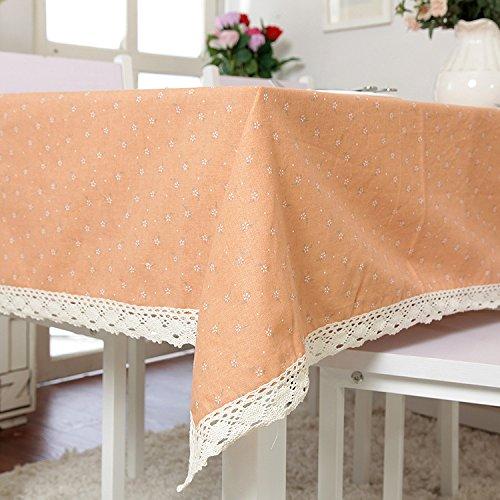 Coton et lin Floral Orange Dentelle Nappe Multifonction Multi-taille Housse de serviette , 140x180cm