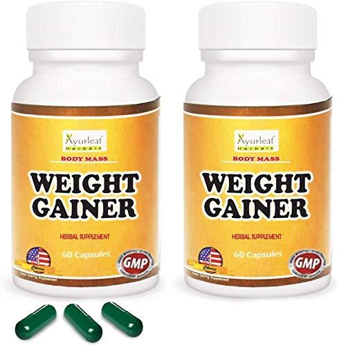 Ayurleaf Weight Gainer Weight Gain Formula Men or Women. Gain Weight Pills (60) Tablets - 1, 2, 3 or 4 Bulk Packs. Herbal Appetite Enhancer. Skinny get Curves or Body Mass. ((2) Two Bottles Pack)