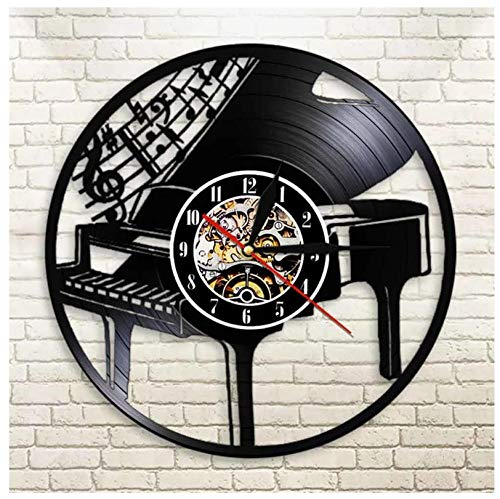 Vinilo Pared Reloj Piano Instrumento Musical Disco Retro un Reloj de Pared Grande con un Tema Regalo Creativo del Reloj de Pared Hecha a Mano 12 Pulgada(Sin Luces)
