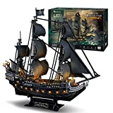 Puzzle 3D Queen Anne's Revenge Rompecabezas, 3D Nave Kit de Modelo de Barco Pirata (LED), 340 Pieces Decorative Exiting Fun Educational Playing Building Game Kids Best Gift Toy