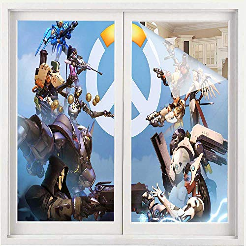 Benmo House Glass Door Stickers Overwatch vs Sky New Window Clings Decal Wall Stickers 35.4 x 118 inch