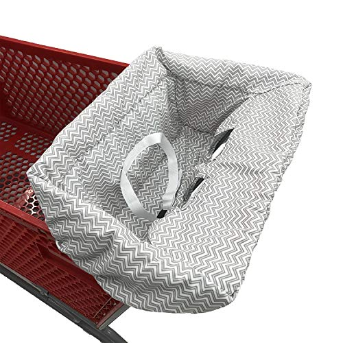 Portable Shopping Cart Cover | High Chair and Grocery Cart Covers for Babies, Kids, Infants & Toddlers ✮ Includes Free Carry Bag ✮ (Simple Gray Chevron)