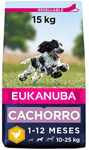 Eukanuba Alimento seco para cachorros de raza mediana, rico en pollo fresco 15 kg ⭐