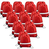 20 Pieces Red-Drawstrings-Bag-Backpack Bulk Reflective Sports Gym Sack Pack Cinch Bags