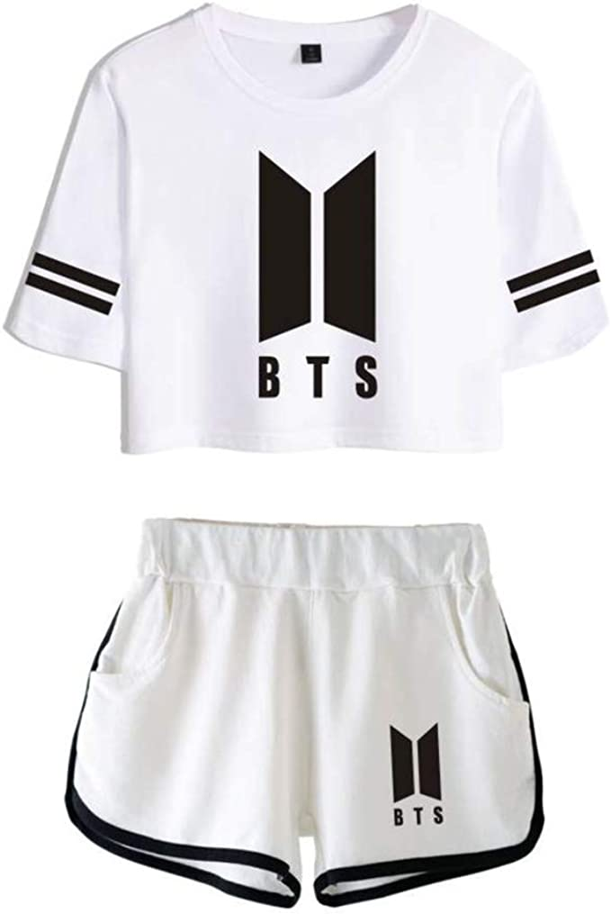 Flyself Mujer KPOP BTS Camiseta Set Chándales Deportiva con Impresa BTS 2 Piezas Camiseta Crop Tops y Pantalones Cortos Suga Jungkook JIN Jimin V RM ...