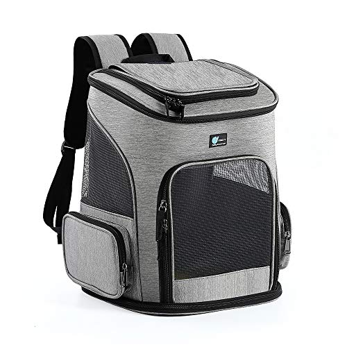 FOREYY Pet Carrier Backpack for Cats,Small Dogs,Puppies,Dog Carrier Bag with Ventilated Mesh, Comfort Portable Collapsible Cat Backpack Bag for Hiking Travel Camping Outdoor,Up to 18 Lbs Pets (Gray)