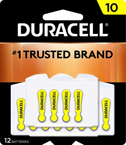 Duracell - Hearing Aid Batteries Size 10 (Yellow) - long lasting battery with EasyTab for ease of installation - 12...
