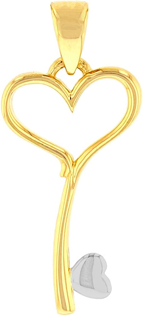 Solid 14K Yellow Gold Open Heart Love Curved Key Pendant