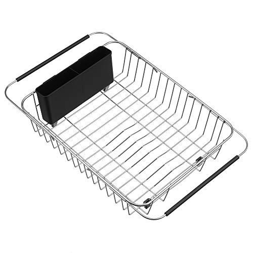 SANNO Expandable Dish Drying Rack über dem Spülbecken Dish Drainer Geschirrabtropfer im Spülbecken oder auf der Theke mit Utensil Besteck Aufbewahrungshalter, rostfreiem Edelstahl