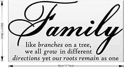 Family Like Branch Wall Decal Removable Vinyl Wall Sticker Quotes Mural Art Sticker for Living Room Bedroom Home Decor (Black)