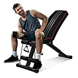 OUNUO Adjustable Weight Bench - Utility Foldable Workout Bench Incline/Decline Flat Weight Lifting Bench Press for Home Gym Fitness (Black)