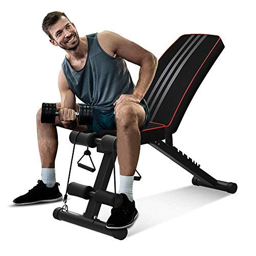 OUNUO Adjustable Weight Bench - Utility Foldable Workout Bench Incline/Decline Flat Weight Lifting Bench Press for Full Body Workout & Home Gym Exercise (Standard)