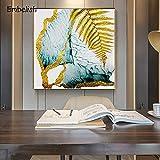 KWzEQ Imprimir en Lienzo Nube Abstracta Hojas Doradas Sala de Estar HD Impresión Lienzo Pintura al óleo Decoración del hogar40x40cmPintura sin Marco