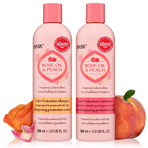 HASK ROSE OIL + PEACH Shampoo and Conditioner Set Color Protecting - Color safe, gluten-free, sulfate-free, paraben-free Allure Best of Beauty Award Winner- 1 Shampoo + 1 Conditioner