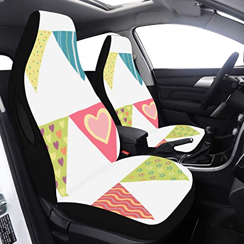 Car Seats Covers Popular Bunting Flags Decor Boy Seat Covers 2 Pcs Universal Fit Airbag Compatible for for Car SUV Auto Truck Car Seat Covers for Teens