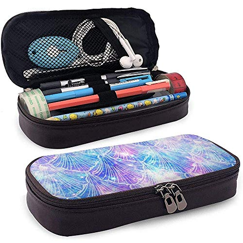 Mermaid Tails Galaxy Space PU Leather Pen Pen Bag 20 * 9 * 4 cm (8X3.5X1.5 Inches) Pouch Case Holder Student Coin Purse Cosmetic Bag