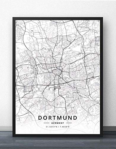 ZWXDMY Leinwand Bild,Deutschland Dortmund Stadtplan Modern Schwarz Weiß Minimalistische Kunstmalerei Einfaches Wandplakat Cafe Wohnzimmer Vertikale Dekoration, 70 × 100Cm