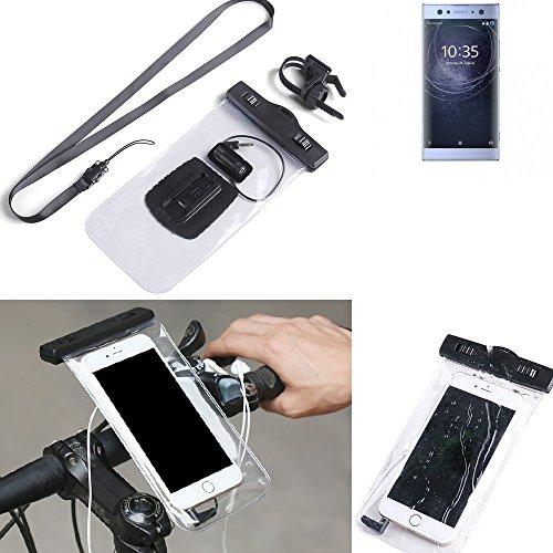 K-S-Trade® Fahrrad Halterung Für Sony Xperia XA2 Ultra Dual-SIM Handy Halter Lenkstange Fahrradhalter Fahrradhalterung Regensicher Wasserdicht Anschluss Für Kopföhrer Transparent