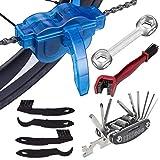 Osuter 8PCS Kit de Cepillo de Limpieza Limpiador de Cadena de Bicicleta Limpia Cadenas Bicicleta Limpia Cadenas de Ciclismo Herramienta Bici Llave Inglesa Bike Chain para Todos los Tipos de Bici
