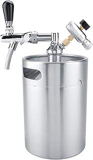 Jadpes Distributeur de bière,5L en Acier Inoxydable pressurisé Portable Brassage de bière Keg Craft Kit Mini-carbonateur a...