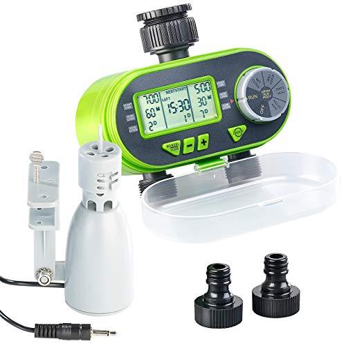 Royal Gardineer Bewässerungsautomat: Digitaler Bewässerungscomputer BWC-200 mit 2 Anschlüssen & Regensensor (Digitale Bewässerungsuhr)