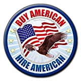 Buy American Hire American 6-Button Pack - Patriotic USA 1st Buttons - Soaring Eagle Flag Pin Badges