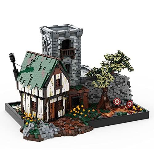 Myste Modular Haus Bausteine, MOC-80571 Mittelalter Trainingsgelände Architektur Gebäude, 5470 Klemmbausteine Architektur Modell Kompatibel mit Lego Ideas 21325 Schmied