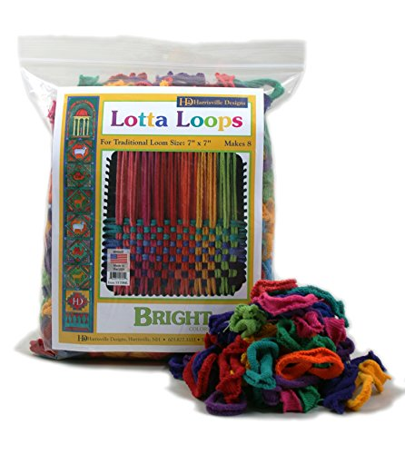 Harrisville Designs Friendly Loom Lotta Loops 7' Traditional Size Bright Cotton Loops Makes 8 Potholders, Weaving, Crafts for Kids and Adults