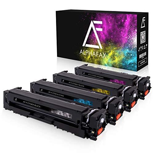 4 Alphafax Toner kompatibel mit HP CF540X CF541X CF542X CF543X für Color Laserjet Pro M-280nw M-281fdn M-281fdw M254nw M254dw - 203X