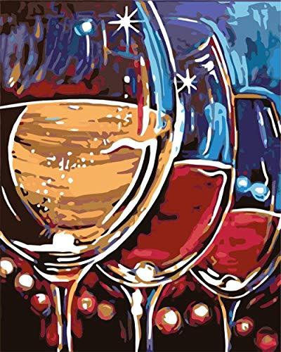 GenericBrands Ölgemälde nach Zahlen Landschaft Weinglas Handgemalt Ölgemälde Kits auf Leinwand Weihnachten Geburtstag Home Haus Deko - Ohne Rahmen 40 * 50 cm