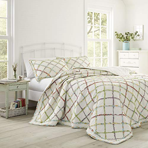 Laura Ashley Home Ruffle Garden Collection Steppdecke, 100 prozent Baumwolle, ultraweich, für alle Jahreszeiten, wendbar, stilvoll, Full/Queen, cremefarben
