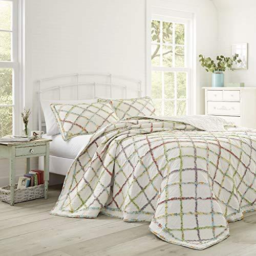 Laura Ashley Home Ruffle Garden Collection Steppdecke, 100 % Baumwolle, ultraweich, für alle Jahreszeiten, wendbar, stilvoll, Kingsize, cremefarben