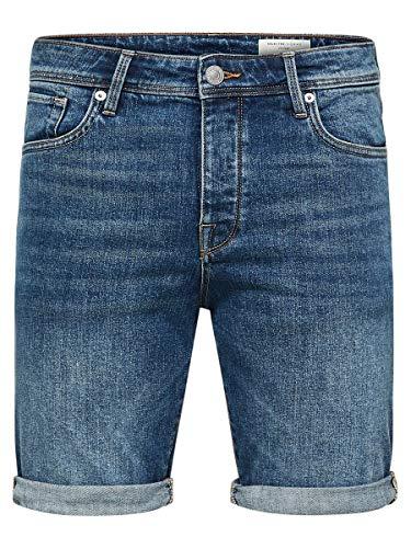 SELECTED HOMME Herren SHNALEX 305 M. Blue ST Denim STS Shorts, Blau (Medium), 52(Herstellergröße:L)