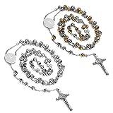 Flongo Men's Women's 2PCS Vintage Stainless Steel Jesus Christ Crucifix Cross Rosary Beads Pendant Necklace,29 inch Chain