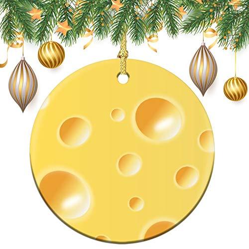 Christmas Ornaments, Yellow swiss cheese texture Christmas Memory Tree Round Ornament, Ceramic Keepsake Decoration Ornament