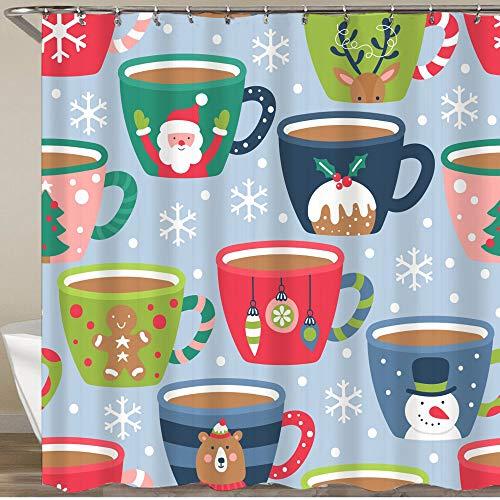 KGSPK Duschvorhang,Weihnachtsfeiertag mit Kakao-Schokoladen-Tasse kindischen Hintergr&,Wasserfeste Bad Vorhang aus Polyestergewebe mit 12 Haken Duschvorhang 180x180cm