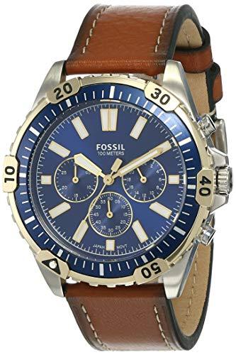 Fossil Men's Garrett Stainless Steel Quartz Watch with Leather Strap, Brown, 22 (Model: FS5625)
